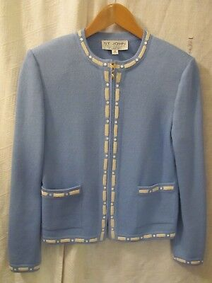Ladies sz 2 ST JOHN COLLECTION by MARIE GRAY Sky Blue Zip Front Knit JACKET L/S