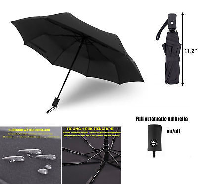 Automatic Travel Umbrella Auto Open Close Compact Folding Windproof Waterproof 4
