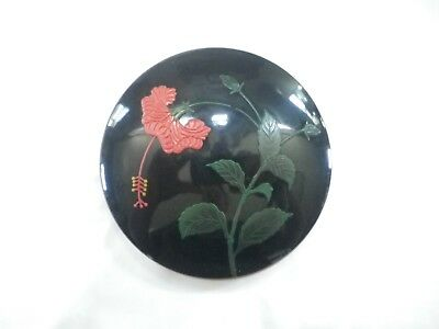 Vintage Black Lacquer Round Okinawa Trinket Jewelry Box Red Flower Japan