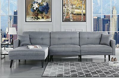 MID CENTURY MODERN Style Sofa Sleeper Futon Sofa, L Shape Sectional, Light  Grey