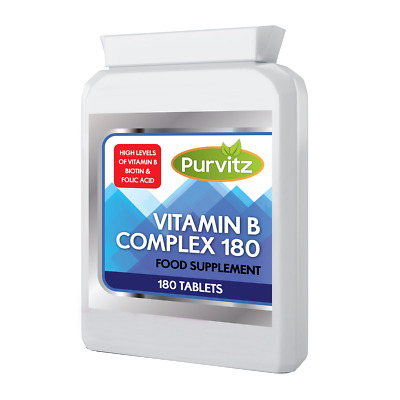 Vitamin B Complex 180 Tablets B1,B2,B3,B5,B6,B12,Biotin,Folic Acid Purvitz UK