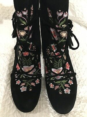 2825df7158a38d SAM EDELMAN WINNIE Black Suede Ankle Boots Sz 8.5 Floral Embroidered ...