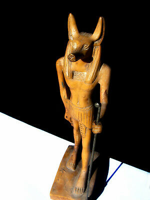 Vintage Standing Anubis Jackal Ancient Egyptian God of the Dead Handmade Statue