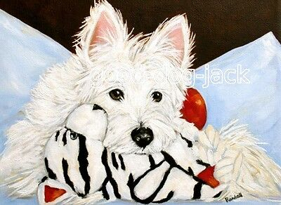 "West Highland Terrier ACEO WESTIE PRINT Painting ""LOST IN THOUGHT"" Dog RANDALL"