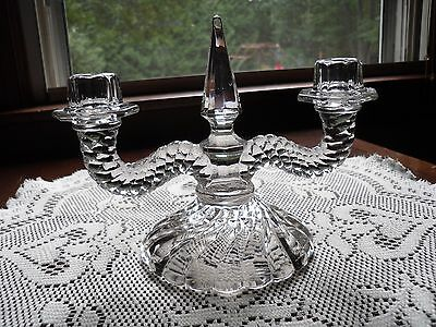 """VINTAGE CRYSTAL ART DECO 2 CANDLE HOLDER SWIRL DESIGN WITH CENTER POINT 8"""" x 6"""""""