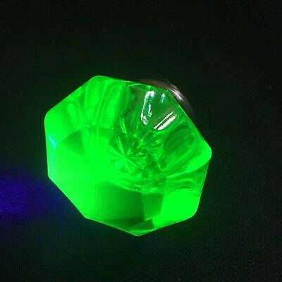 ANTIQUE Octagonal Glass DOOR KNOB - URANIUM Vaseline GREEN  - VICTORIAN ERA