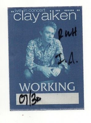 Clay Aiken Live In Concert Satin Working Crew Backstage Pass