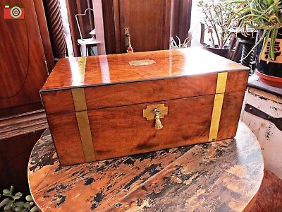 Vintage Victorian Walnut Writing Slope, Brass Fittings, Hidden Drawers. Lovely