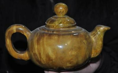 Old Chinese Precious Gold Phoebe Wood Hand carved Teapot tea pot maker Statue