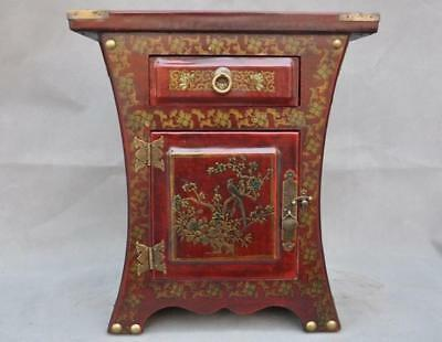 """13"""" Old Chinese Palace lacquerware wood Dragon Phoenix storage box cabinet Boxes"""