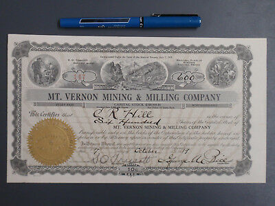 Stock Certificate Mt. Vernon Mining a & Milling Company