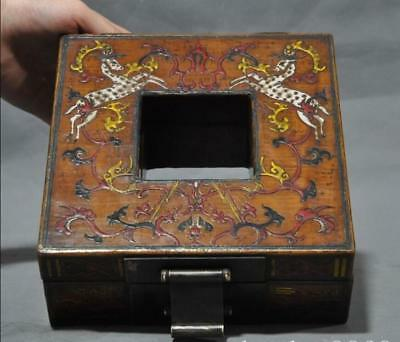 "8"" Old Chinese lacquerware wood deer Sika Deer statue Jewelry Box storage boxes"