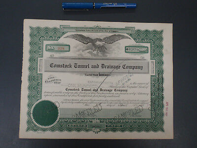Comstock Tunnel and Drainage Company Stock Certificate