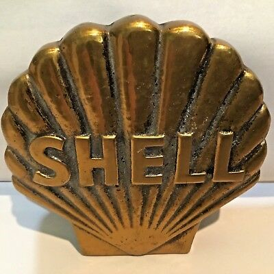 Vintage Shell Oil Heavy Metal Advertisement Paperweight