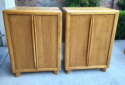 Pair of Heywood Wakefield Tambour Utility Case Cabinets