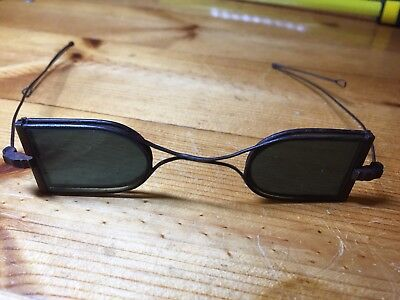 Antique Brazing Welding Glasses Green Steampunk Motorcycling Wire Frame Glasses