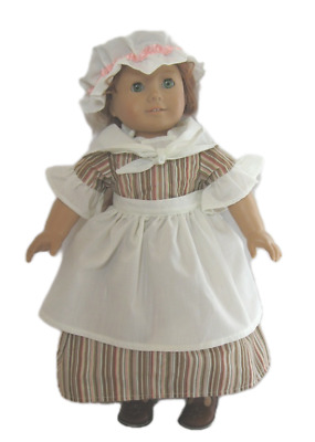 """Doll Clothes 18"""" Colonial Work Dress Beige Brown Stripe Fits 18"""" AG Dolls"""