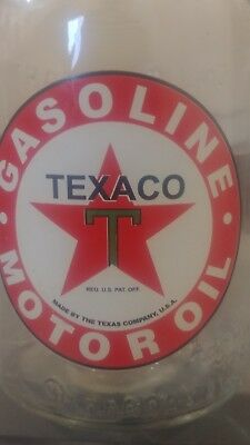 TEXACO™ T STAR QUART MOTOR OIL BOTTLE with METAL SPOUT & DUST CAP Fill Arrow