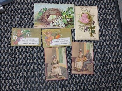 Group of 5 circa 1880 Victorian sewing machine trade cards