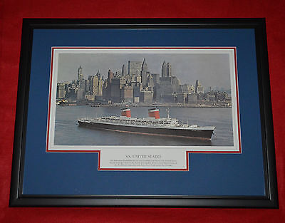 S.S. United States Lines Ocean Liner Cruise Ship Original Lithograph