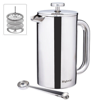8-Cup 34OZ Double Wall Stainless Steel French Coffee Press Maker Double Screens