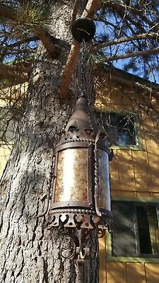 Antique Gothic / Spanish revival hand forged French lantern with Mica shade,