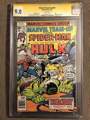 Marvel Team Up 54 Spider-Man And The Incredible Hulk CGC 9.0 Signed By Stan Lee