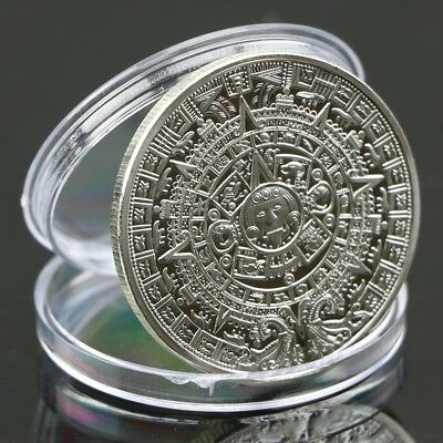 Mayan Silver Plated Aztec Prophecy Calendar Commemorative Coin Stone Collection