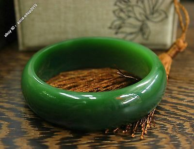 57mm Chinese AAA Xinjiang 100% Hetian Green Jade Hand-carved Bracelet Bangle