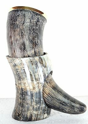 Natural Viking-Adorned-Beautiful-Drinking-Horn-Cup-Mug-Mead-Christmas-Decor sdfs
