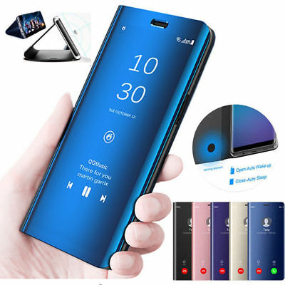 For Samsung A7 J6 Plus 2018 Note 9 Clear View Touch Mirror Flip Stand Case Cover