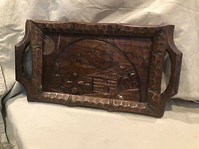 ANTIQUE CARVED WOODEN TRAY HOME W/CACTUS & Mountain View