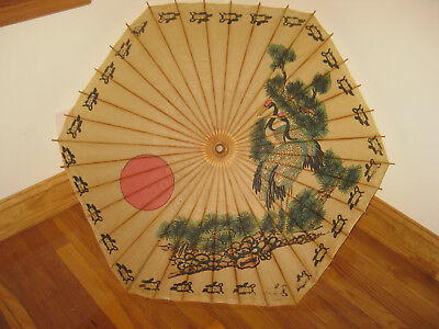 Vintage Chinese Paper and Bamboo Hand Painted Parasol Umbrella  Decor Asian