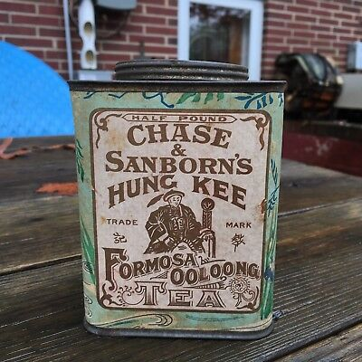 Early Chase & Sanborn's Hung Kee Tea Tin Can Formosa Ooloong Paper Label 1920s
