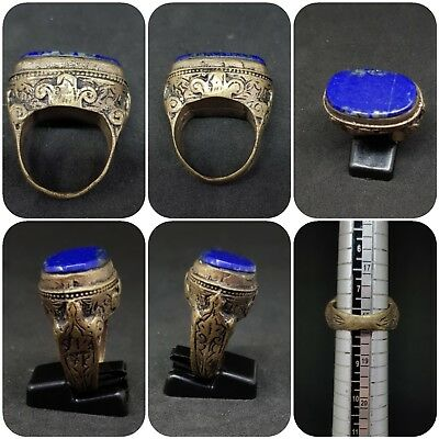 Silver plated roman ring with beautiful lapis lazuli stone # 5y