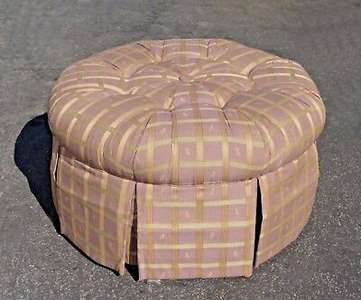 LAZYBOY Lavender Tufted Round OTTOMAN Bench with Sage Stripes