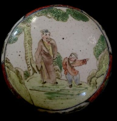 Antique Enamel Ring Pill Box Chinese Figures Hand Painted Small