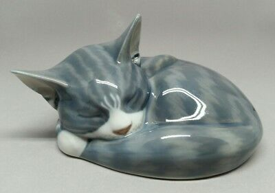 Royal Copenhagen #422 Sleeping Lying Grey Tabby Kitten Cat Porcelain Figurine