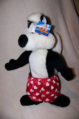 Vintage 1998 Valentine's Day Pepe Le Pew Plush 16 inches Stuffed Animal    P6