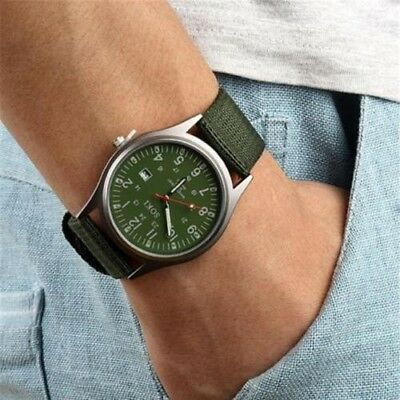 Men's Military Army Date Canvas Band Stainless Steel Sports Quartz Wrist Watches