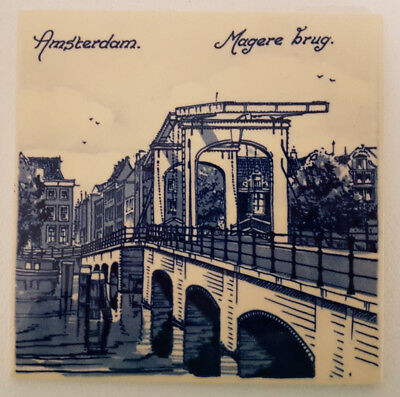 "Delft Blue 6"" Tile Depicting Amsterdam Magere brug Scene. Superb Condition."