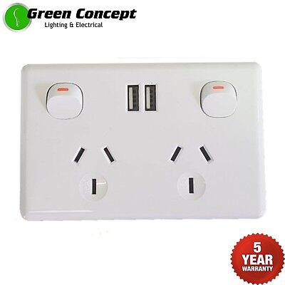 NEW Double Power Point GPO with twin USB Outlets 2.1 Amp Powerpoint White Socket
