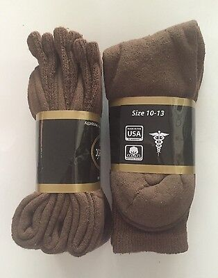 3/6/12/ Pairs Non-Binding Top DIABETIC Brown Crew Socks Size 10-13 & 9-11, USA
