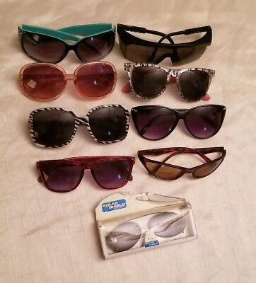 Lot of 9 Vintage Style Women's Sunglasses Baroque Cat Eye Round Butterfly Square