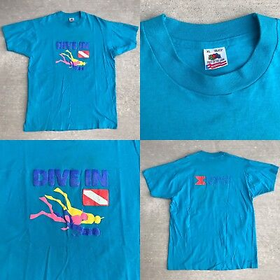 Vintage 1990s 90s Norwegian Cruise Line Teal DIVE IN Puff Print Divers Mens XL