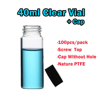 100pcs 40ml 24-400 Small Glass bottles Vials Glass Test Tube with Screw Top, Cap