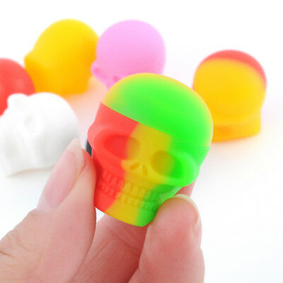 3ml Nonstick Silicone Oil Concentrate Container Jar Vial Screw Skull Jars NEW