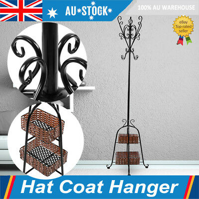Coat Stand Rack Clothes Hanger Hat Tree Vintage Jacket Bag Hook +2-tier Basket