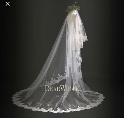 7.7 Feet White Elegant Tulle Lace Decorated Wedding Veil With Blusher