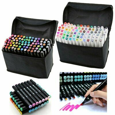 30/40/60/80X Multi Colour Marker Pens Set Twin Tip Graphic Art Sketch Broad Fine